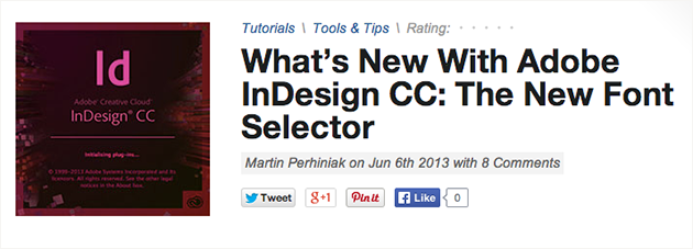Adobe InDesign: New Font Selector